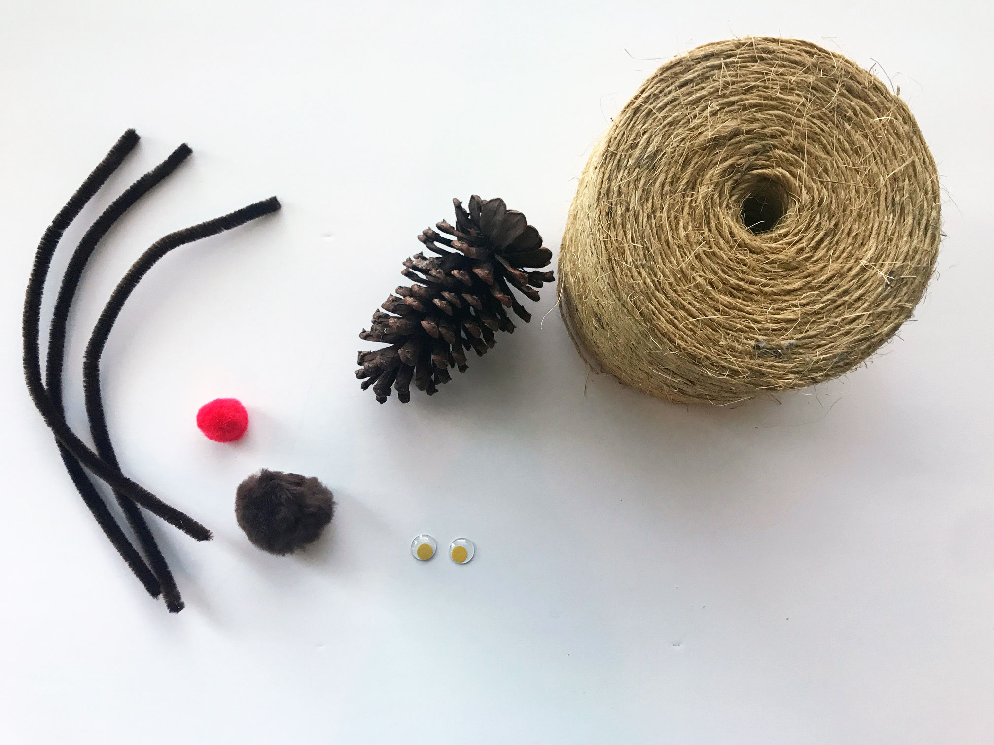 materials needed for Rudolph pine cone ornament