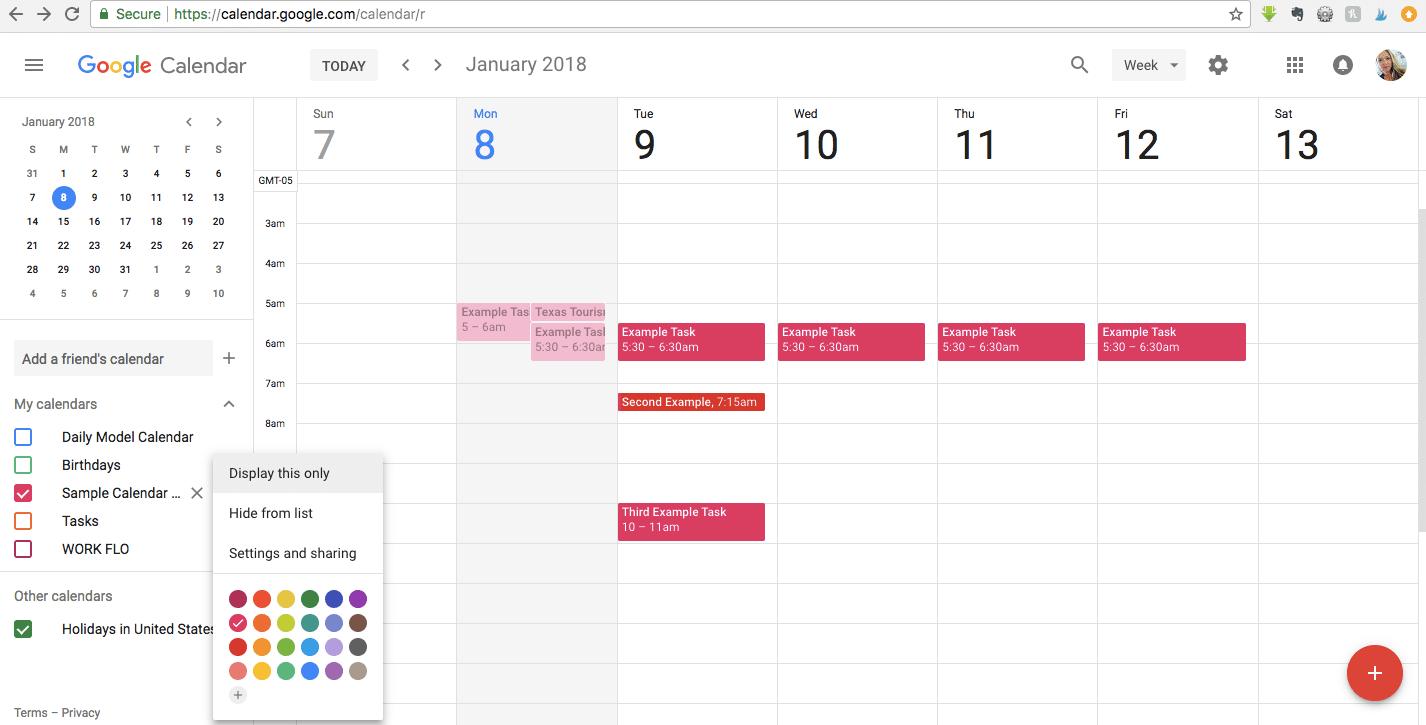 Google Calendar Settings and Sharing