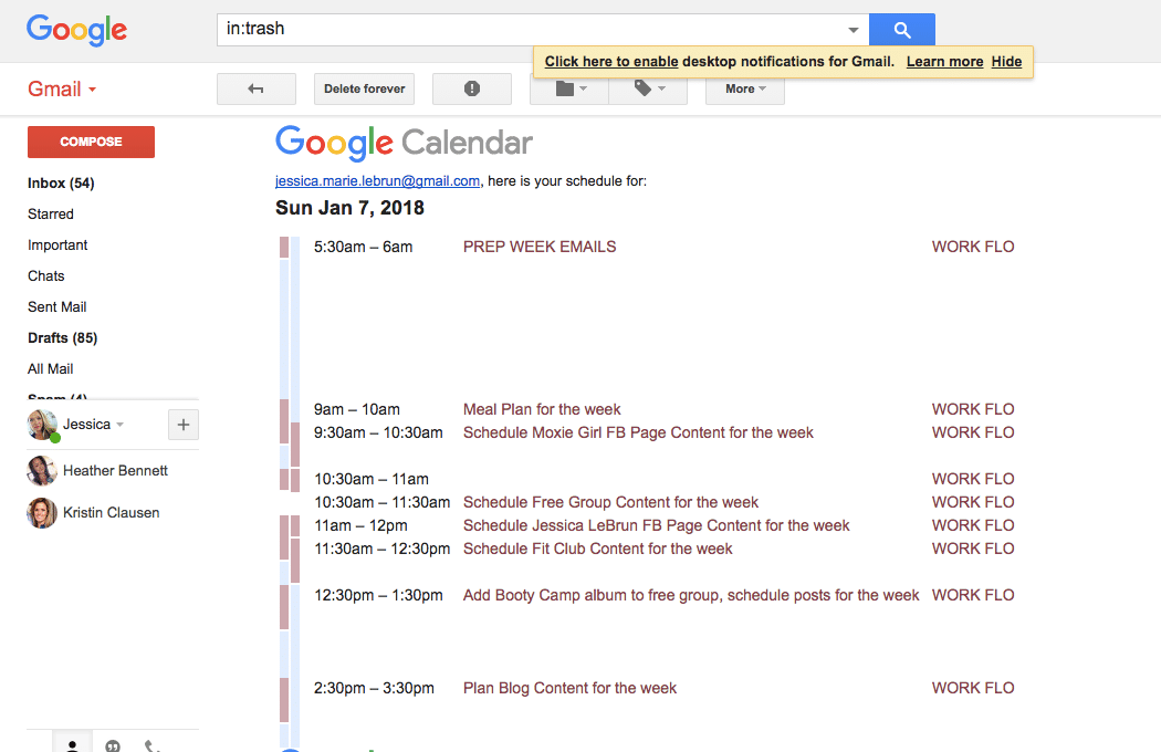 Daily Agenda in your inbox