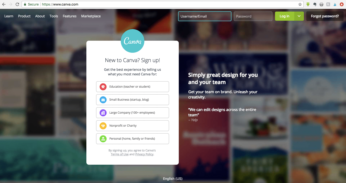 Create a free Canva account