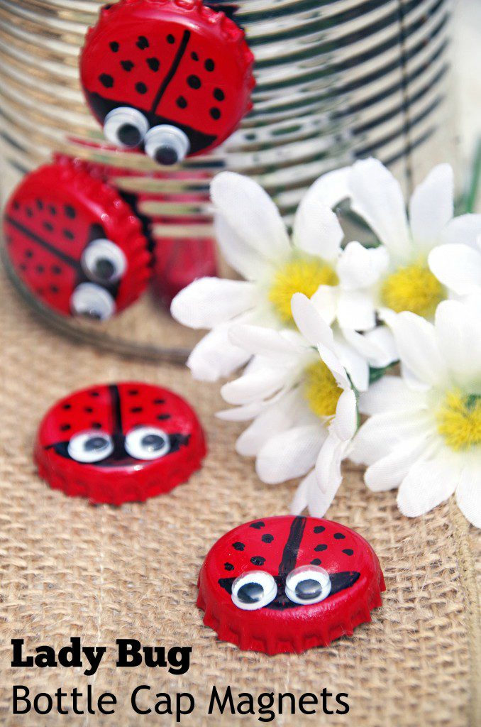 Bottle Cap Lady Bug Magnet
