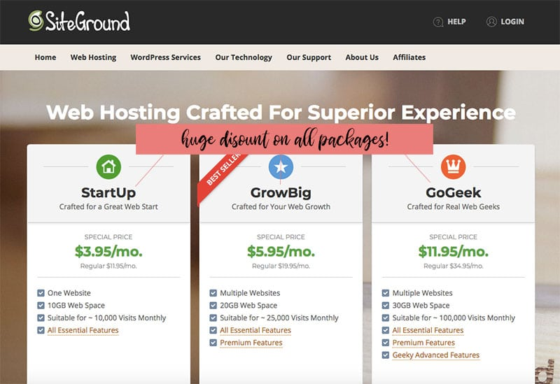 Discount on web hosting services