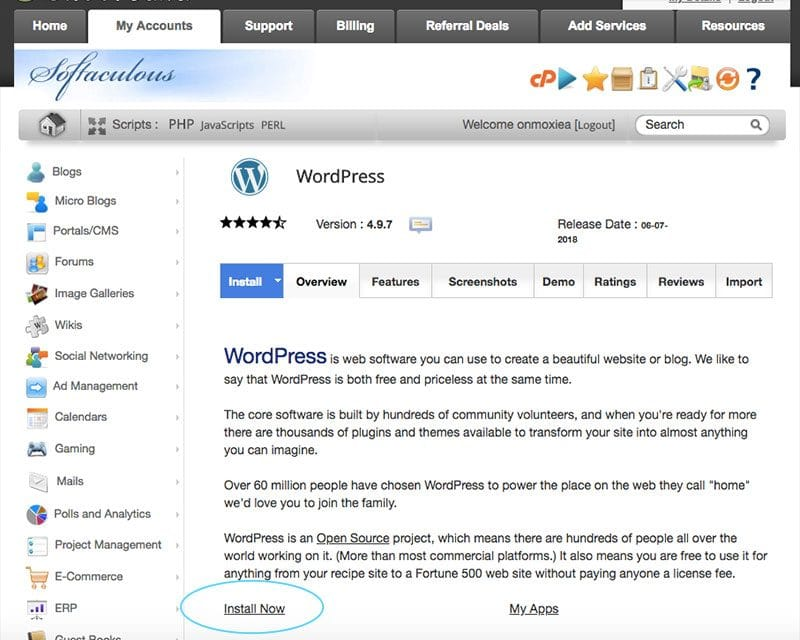 How to Install WordPress to start a blog