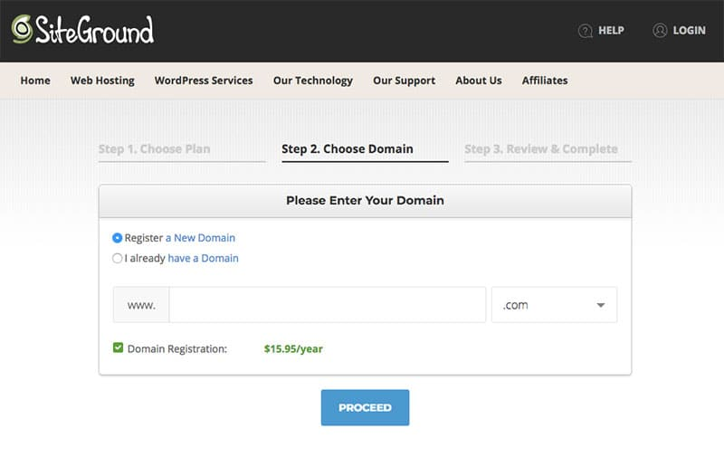 Siteground domain name registration
