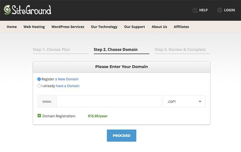 Siteground domain name registration