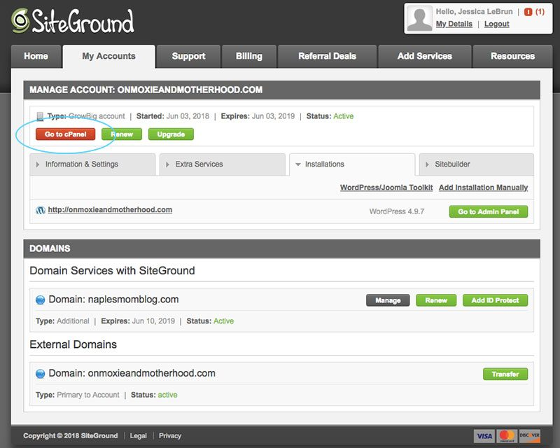 Use CPanel in Siteground