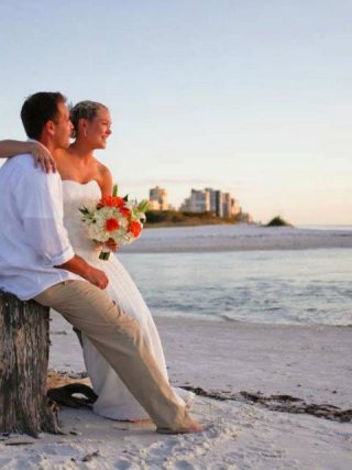 beach wedding bride groom