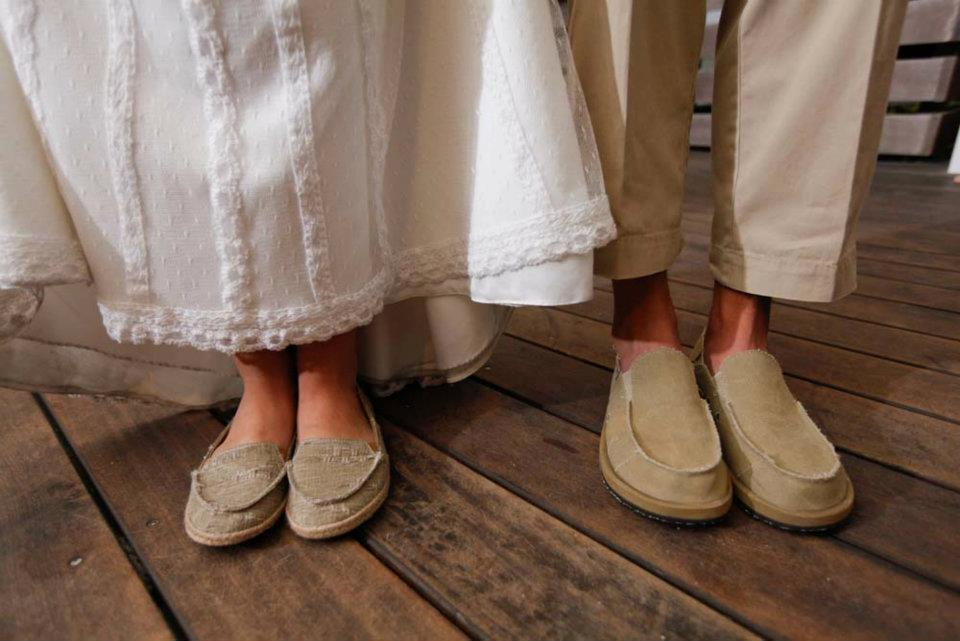 Beach wedding bride groom shoes
