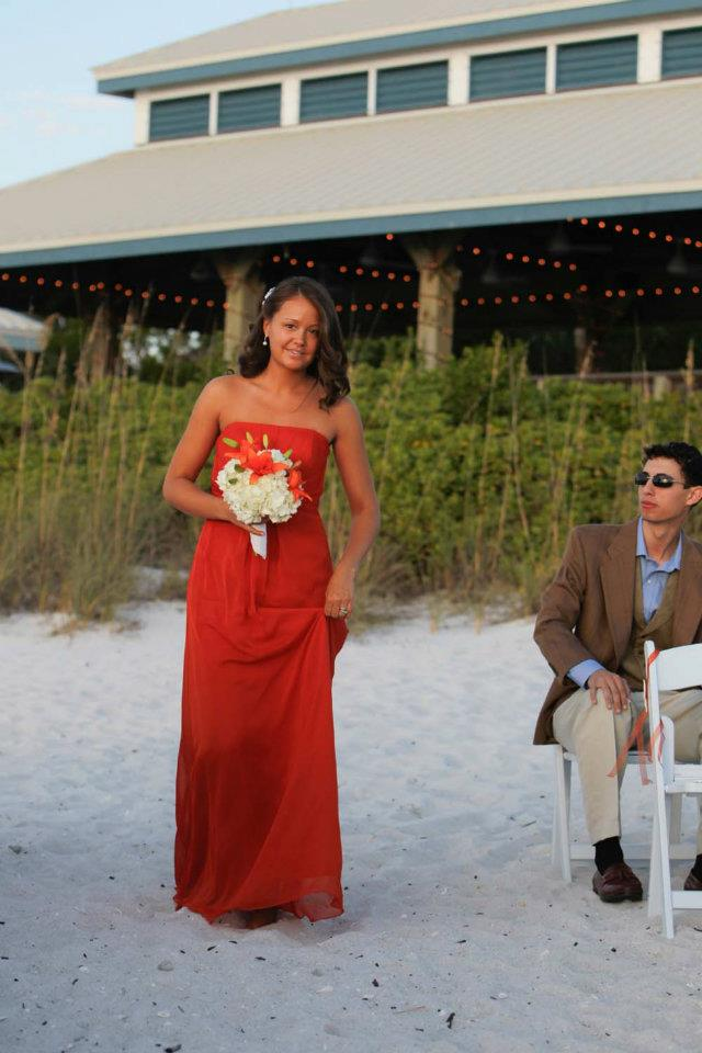 Beach wedding bridesmaid