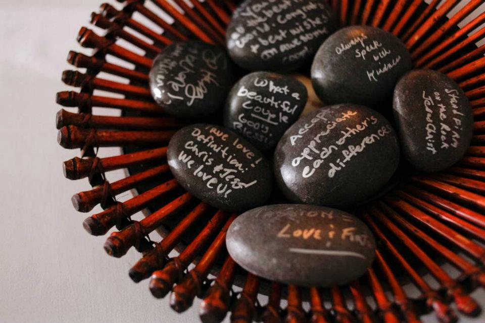 wedding guest book wishing stones