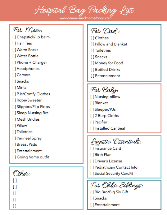 free printable hospital bag packing list