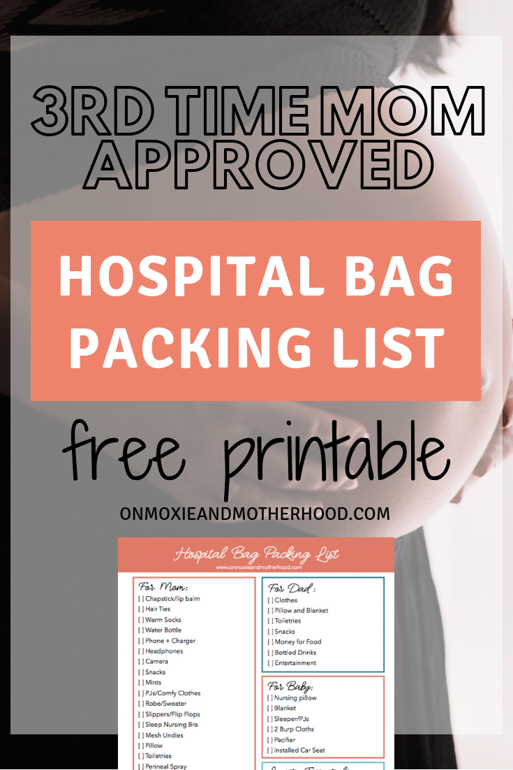 printable hospital bag checklist