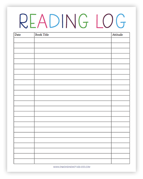 Free Printable Reading Log, Sight Words Lists and Learn to ...