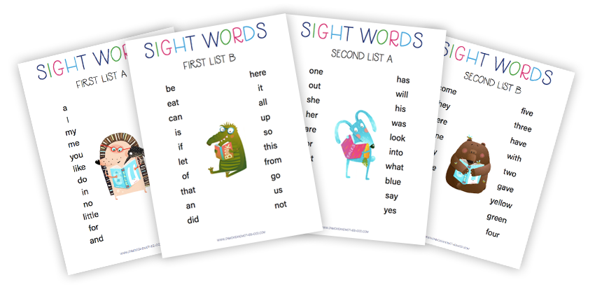 sight words lists free printable
