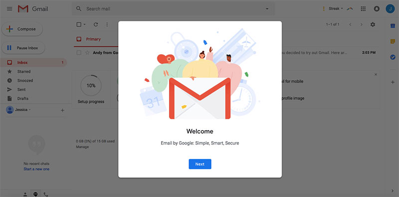 gmail email welcome setup