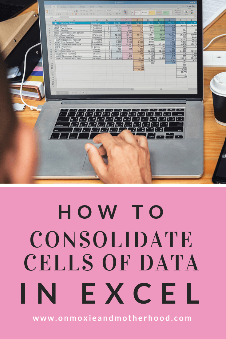 how to combine cells consolidate data in excel