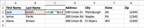 merge two cells in excel