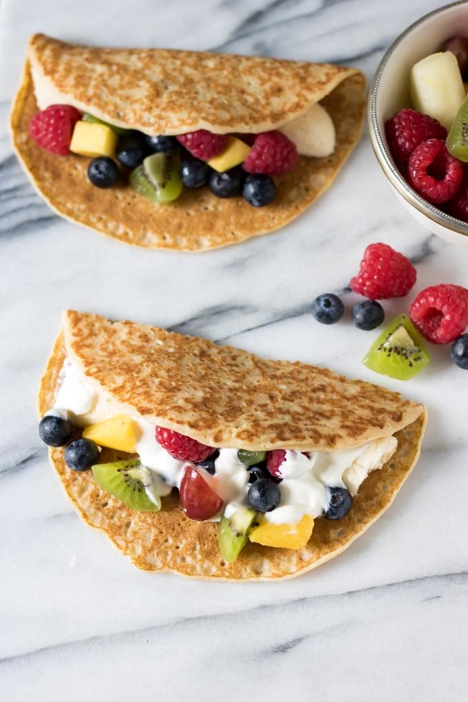 Fruit Tacos with Maple Yogurt Drizzle