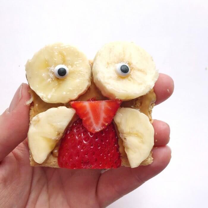 Peanut Butter Strawberry Banana Owl Kid's Snack