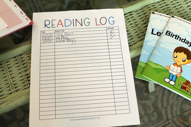 first year of homeschool reading log