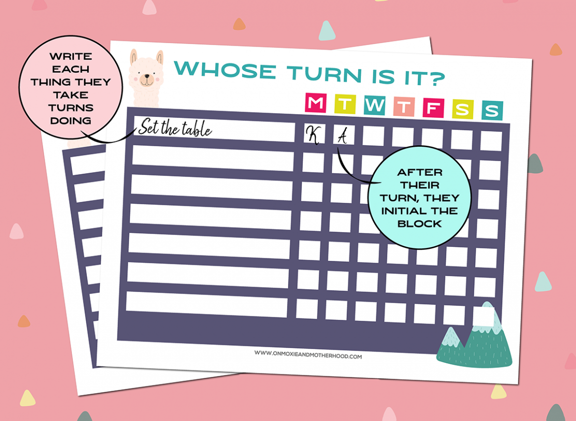 kids take turns chart printable