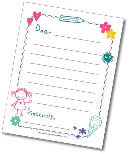 Free Printable Letter Template For Kids: Let's Bring Pen