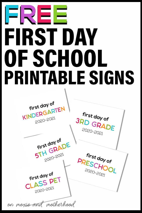 free printable first day of school sign